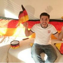 Fuballfan Deutschland Spiel freut sich